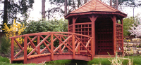Bridge 13 - 10ft (3.04m) Chinese style bridge stained Cedar to match summer-house. All components normally kept in stock. 				  £828