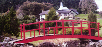 Bridge 18 - 17ft (5.18m) Japanese style bridge with ball finials, painted Signal Red with boards stained Ebony. All components normally kept in stock. 				  £1970