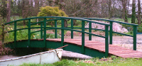 Bridge 7 - 21ft (6.40m) curved bridge (Country style) stained with a mixture of Holly and Sage, boards stained Dark Oak. POA
