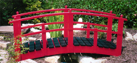 Bridge 8 - 6ft 6in (1.98m) Japanese style garden bridge (with ball finials), painted Signal Red with boards stained Ebony. Stock sizes to 8'(2.44m). Special orders to 21' (6.40m).